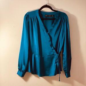 NY&Co satin peplum long sleeve wrap blouse